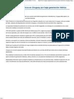 Crecen Gastos Eléctricos en Uruguay Por Baja Generación Hídrica