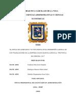 """""""El Estilo de Liderazgo y Su Influencia en El Desempeño Laboral en Los Trabajadores de La Empresa Diano Marina Agricola """"Provincia de Chincha- 2017"""""""