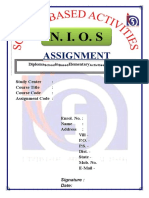 NIOS Assignment 502 front page