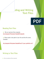 Reading and Writing Text Files