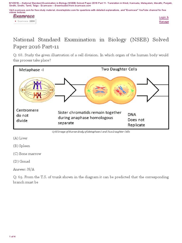 NSEB-Solved-Paper-2016-Part-11 pdf | Promoter (Genetics