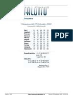 Estrazioni del Lotto Italiano di giovedi 27 Settembre 2018