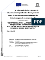Informe de valoración de los criterios de adjudicación - Pliego Región de Murcia