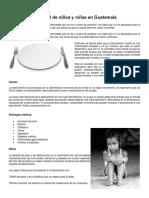 Desnutrición Infantil de Niños y Niñas en Guatemala