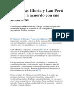 Empresas Gloria y Lan Perú Llegaron a Acuerdo Con Sus Sindicatos