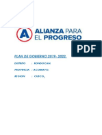 Plan de Gobierno Rondocan 2019 - 2022.