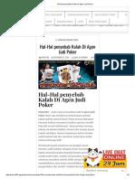 Hal-Hal Penyebab Kalah Di Agen Judi Poker
