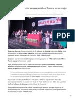 16-09-2018 -Inversión en el sector aeroespacial en Sonora en su mejor momento - Tribuna
