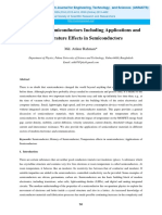 Review on Semiconductors Including Applications and Temperature Effects in Semiconductors