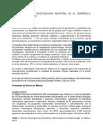 Importancia de La Biotecnologia Industrial en El Desarrollo Economico de Mexico