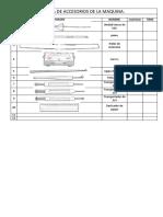 Ficha de Accesorios de La Maquina