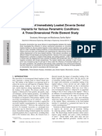 Micromotion of Immediately Loaded Zirconia Dental Implants for Various Parametric Conditions