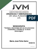 Monografia Cristaloides y Coloides en Shock Hemorragico