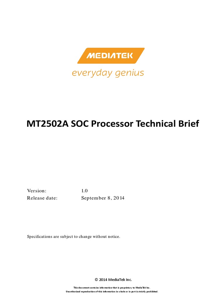 MediaTek MT2502A SOC Data Sheet v1 0 | Digital Signal
