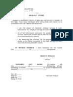 Affidavit of Loss Mama FABSLAI
