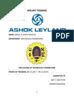 Ashok Leyland Inplant Report