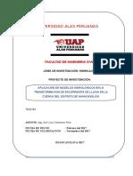 Perfil de proyecto de tesis APLICACIÓN DE MODELOS HIDROLOGICOS EN LA TRANSFORMACION DE ESCORRENTIA DE LLUVIA EN LA CUENCA DEL DISTRITO DE HUANCAVELICA.doc