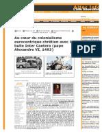 Au cœur du colonialisme eurocentrique chrétien avec la bulle Inter Caetera (pape Alexandre VI, 1493)