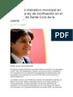 El Sistema Impositivo Municipal en Bolivia y La Ley de Zonificación en El Municipio de Santa Cruz de La Sierra