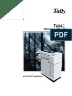 Tally Dot Matrix Printer T6045 and 6050 Supplement Parts and Service Manual