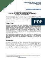 Información oportuna sobre la Balanza Comercial de Mercancías de México durante agosto de 2018
