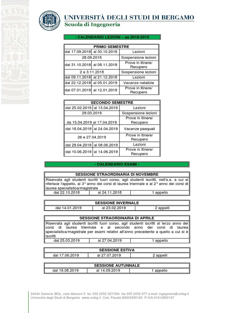 Calendario Esami Unibg Ingegneria 2021 Calendario Accademico 18 19