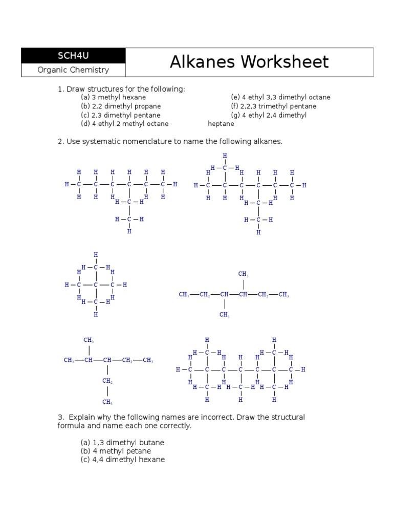 Alkane Worksheet | Methyl Group | Alkane