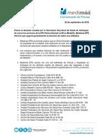 Comunicado - Cierre Esimed de La 80 (Medellín)
