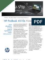 HP ProBook 4510s Datasheet