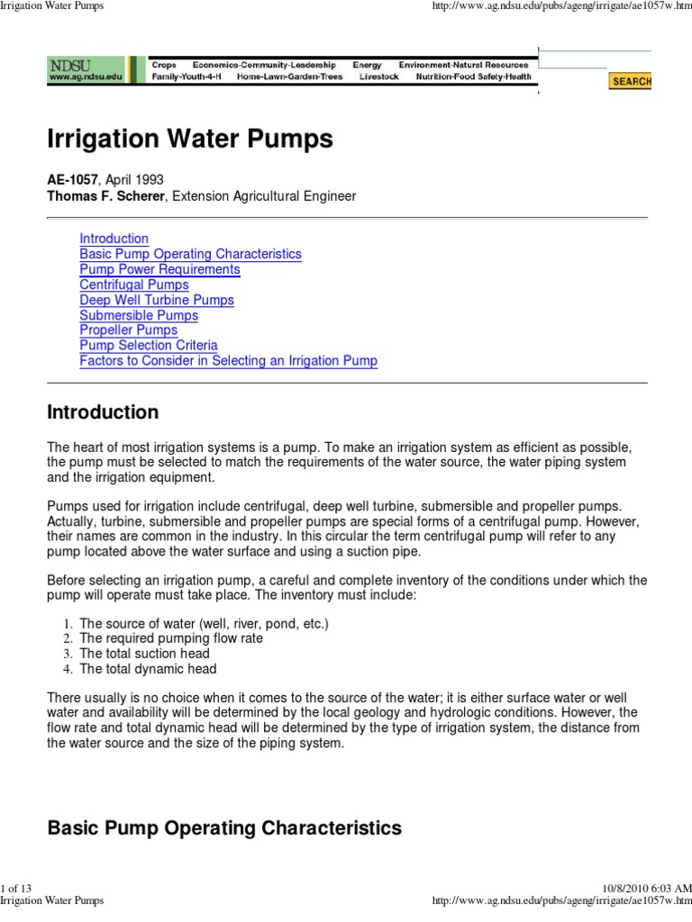 Pumps for wells, their technical characteristics