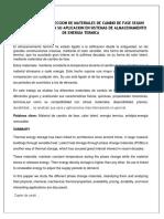 Clasificacion y Seleccion de Materiales de Cambio de Fase Segun Caracteristicas Para Su Aplicacion en Sistemas de Almacenamiento de Energia Termica