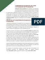 Cálculo de La Probabilidad de Aceptación de Lotes Productivos en La Evaluación de Proveedores_DAVID