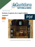Girolamo Il Sapiente Che Ci Regalo La Bibbia Popolare