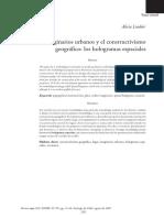 Los Imaginarios Urbanos y El Constructivismo Geogr