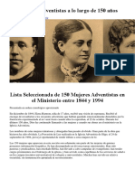 150 Pastoras Adventistas a Lo Largo de 150 Años