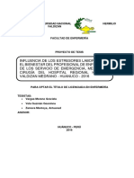 Influencia de Los Estresores Laborales en El Bienestar Del Profesional de Enfermeria de Los Servicio de Emergencia Medicina y Cirugía Del Hospital Regional Hermilio Valdizan Medrano Huanuco 2016