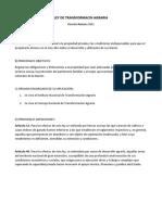 Analisis de Legislacion Agraria