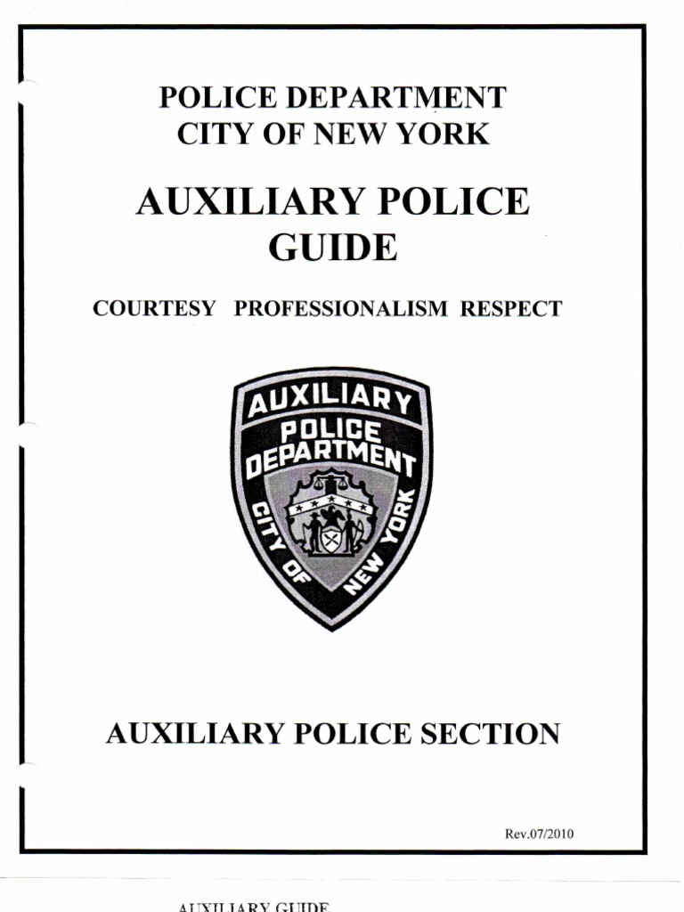 NYPD Auxiliary Patrol Guide   Executive Officer   New York City Police  Department