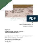 JUICIO DE DEMANDA PARA RATIFICACION DE ACTA DE NACIMIENTO