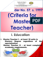DECS Order No. 57, s. 1997 (Criteria for Master Teacher)
