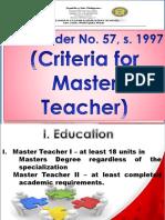 DECS Order No. 57, s. 1997 (Criteria for Master Teacher)