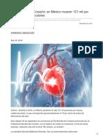 29/Septiembre/2018 Día mundial del corazón en México mueren 121 mil por causas cardiovasculares.