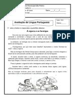 Prova de Português 4 ano