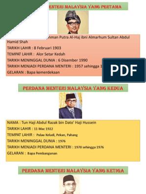 Perdana Menteri Malaysia Yang Pertama
