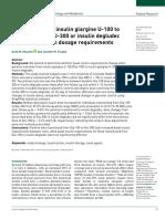 Conversion From Insulin Glargine U-100 to Insulin Glargine U-300 or Insulin Degludec and the Impact on Dosage Requirements