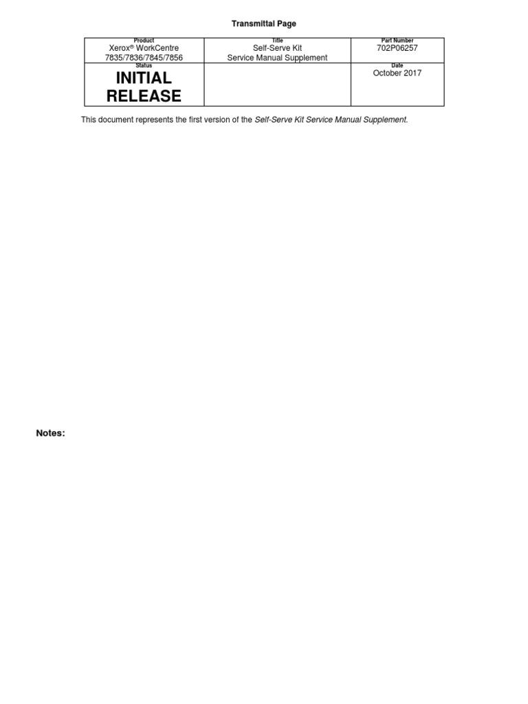 702P06257 Service Manual Supplement for Self Serve Kit v2