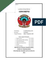 Laporan Praktikum Absorbsi Jurusan Teknik Kimia PNUP