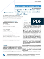 Psychometric Properties of the Adolescent Stress Questionnaire Short Form Scores and Association With Self Efficacy