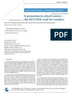 Mental Health Promotion in School Context–Validation of the ES'COOL Scale for Teachers