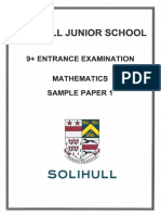 9+ Maths Sample Paper 1